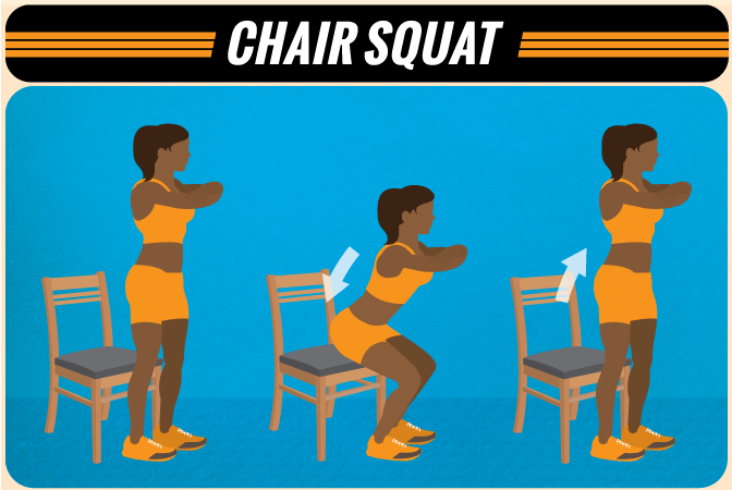 Chair Squats at Home